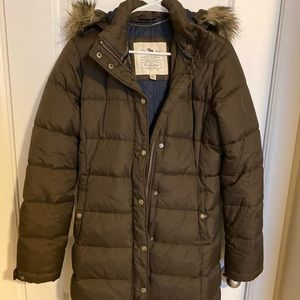 abercrombie & fitch long brown puffer coat